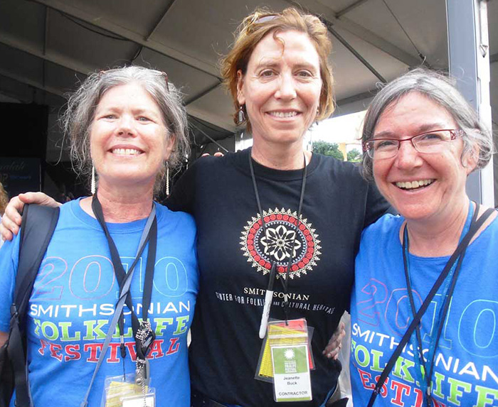 Festival stage manager Jeanette Buck (center), joined by the <em>One World, Many Voices</em> team, Marjorie Hunt and Arlene Reiniger. Photo by Sojin Kim
