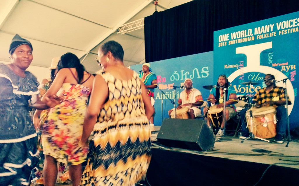 Garifuna dance party at the One World, Many Voices stage. Photo by Elisa Hough