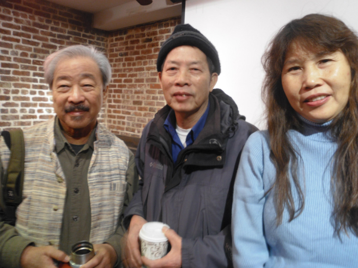Bob Lee (left) with Uncle Ng's second son and daughter, Tak Wing Ng and Soping Ng.