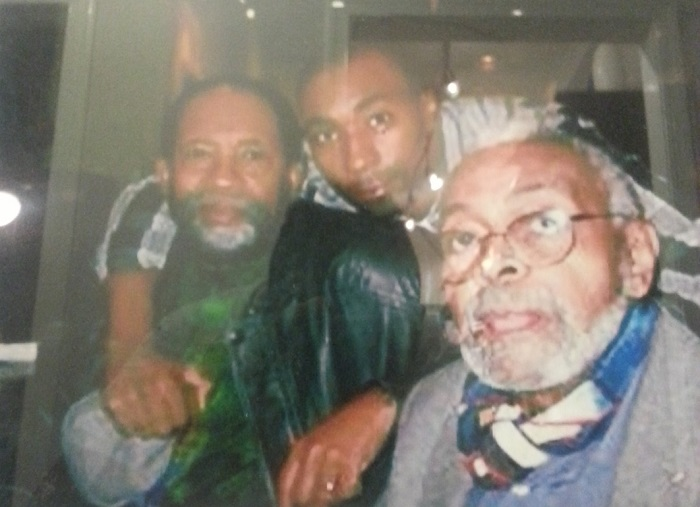 James and JaBen Early and Amiri Baraka at Busboys and Poets in Washington, D.C. Photo by Tom Porter
