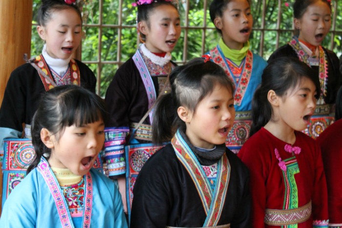 Girls learn traditional music and other arts and crafts at the Dimen Dong Eco-Museum.
