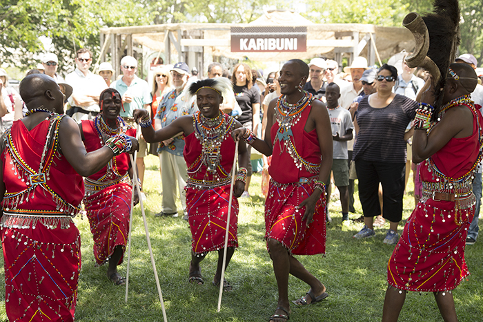 A group of Maasai in an impromptu song and dance session.
