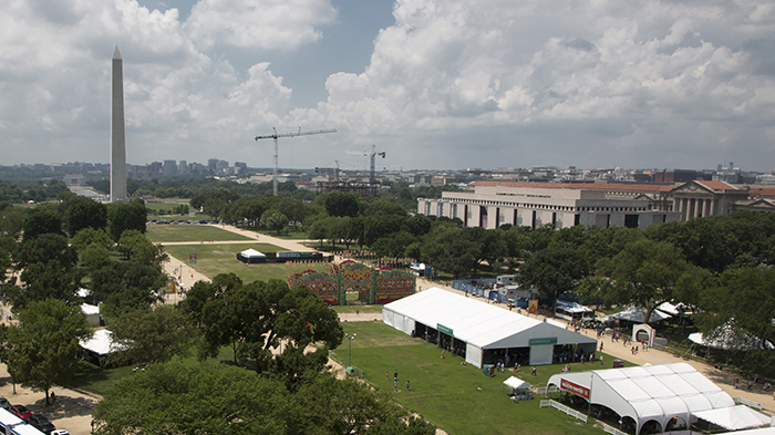 The Folklife Festival from the Smithsonian Castle's tower.