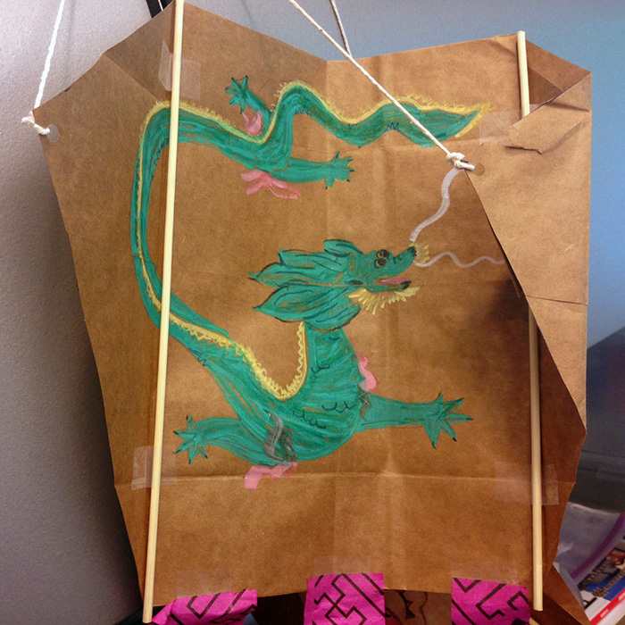 Paper bag kites for Qing Ming Festival.