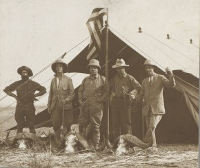 Left to right: Big game hunter R. J. Cuninghame, Kermit, Roosevelt, Smithsonian zoologist Edmund Heller, and assistant Hugh H. Heatley. Photo by Kermit Roosevelt, courtesy of Library of Congress