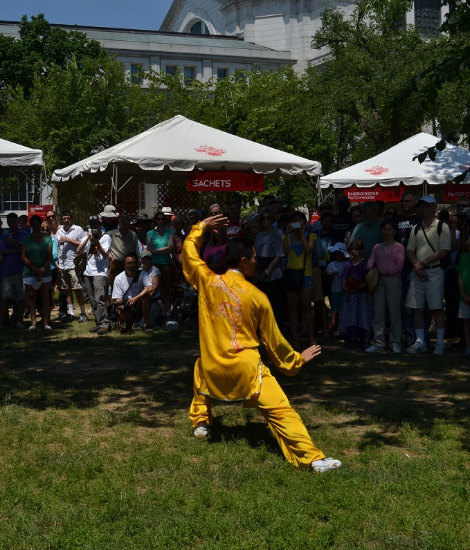 A tai chi performance at People's Park.