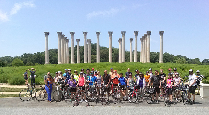Bicyclists en route to China via the National Arboretum. Photo by Christopher Roell