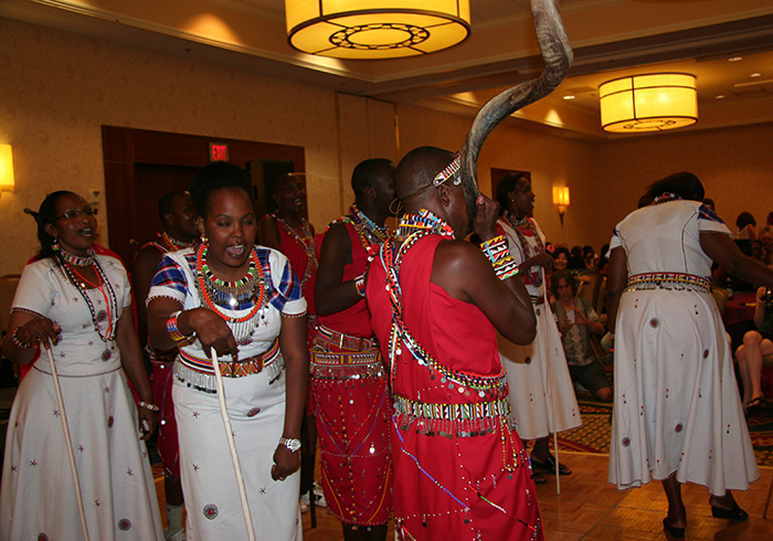 The Maasai dance at the closing day hotel party.