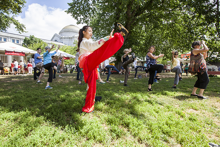 Tian Mengyi leads a tai chi group in People's Park.