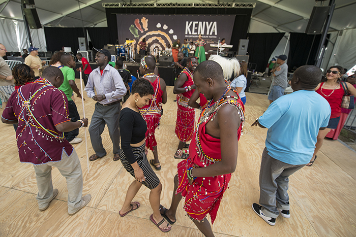 Dancers from all over Kenya and America unite on the Ngoma Stage dance floor.