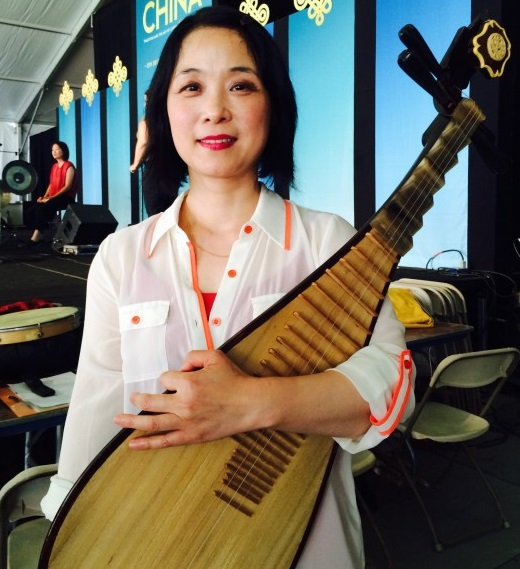 Pipa virtuoso Wu Man with her instrument.
