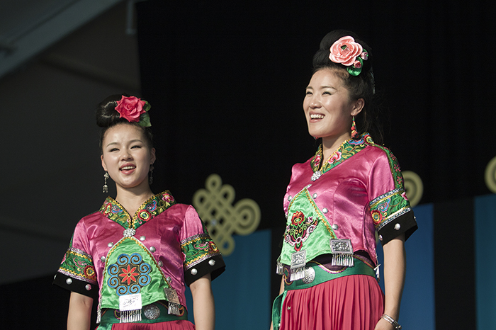 The Leishan Miao Music and Dance Group at an evening concert at the 2014 Folklife Festival.