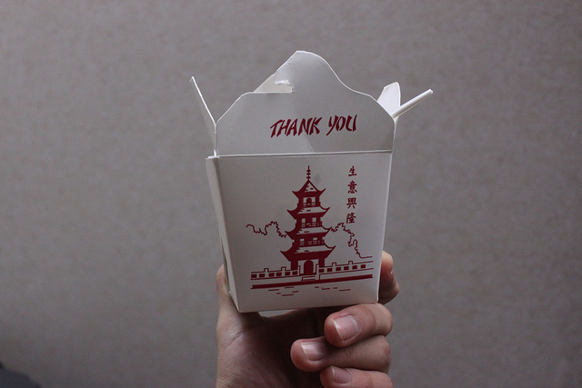 The ubiquitous Chinese takeout box. Photo by Flickr user gabrielsaldana, Creative Commons