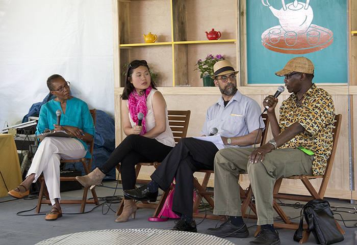 Sharon Shahid, Jenny Chen, Khalil Abdullah, and Tabu Osusa discuss the topic of ethnic media on the Teahouse Commons stage.