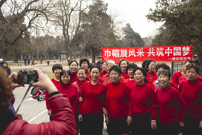 A group of dancers in Temple of Heaven Park, Beijing, 2014.
