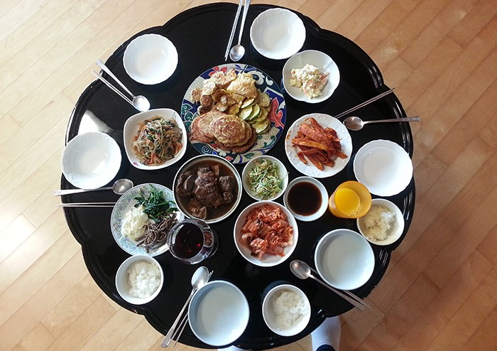 An arrangement of traditional foods for Seollal dinner. Photo by Jennifer Suh