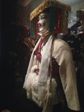 A qolla costume like those used to represent paña (male) in Quechua ceremonial dances, on display in the Our Universes exhibit at the National Museum of the American Indian. Photo by Georgia Dassler