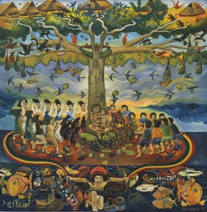 La Raíz de mi Mundo (The Root of my World), a painting by Brus Rubio. Photo by Jackie Flanagan Pangelinan, Ralph Rinzler Folklife Archives