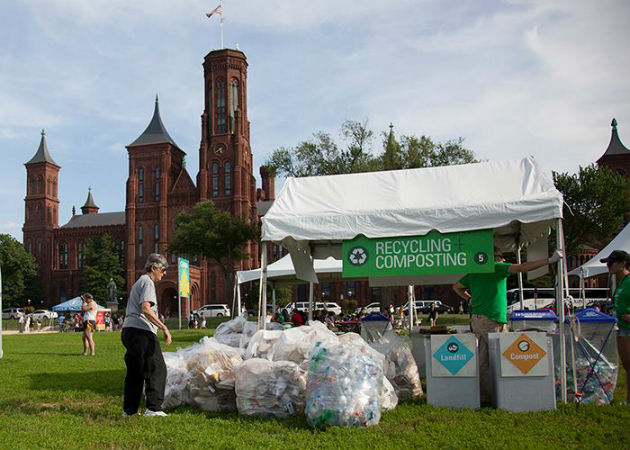 A resource recovery station on the National Mall at the 2014 Folklife Festival. Photo by Brian Barger, Ralph Rinzler Folklife Archives