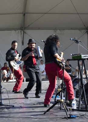 The night closed out with Viento Callejero from East Los Angeles, playing their special blend of cumbia rock music. Photo by JB Weilepp, Ralph Rinzler Folklife Archives
