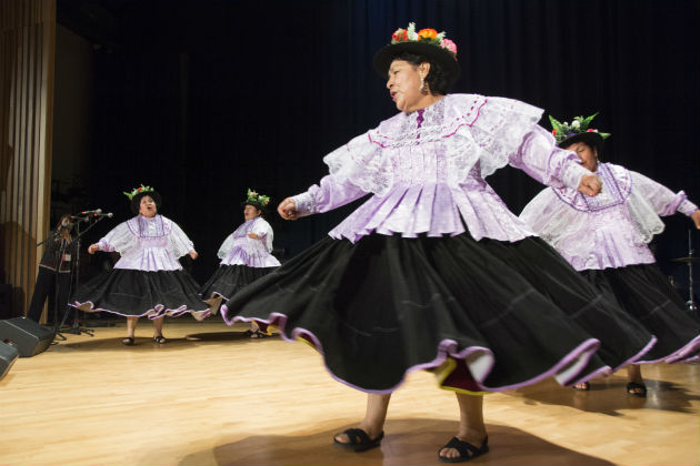 Tradiciones Carumeñas performed the danza sarawja in the Rasmuson theater. Photo by Michelle Arbeit, Ralph Rinzler Folklife Archives