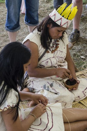 Wachiperi women prepared dyes to decorate their traditional bark clothing. Photo by Josh Weilepp, Ralph Rinzler Folklife Archives