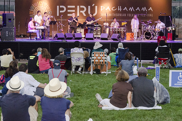 Friday night Alex Acuña rocked the Ralph Rinzler Concert Stage with his percussive mix of American jazz and Peruvian dance music. Photo by Josh Weilepp, Ralph Rinzler Folklife Archives