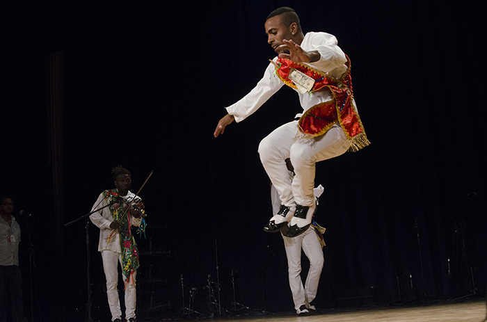Tutuma kicked off the day in the Rasmuson Theater with an acrobatic display of zapateado (percussive footwork). Photo by Josh Weilepp, Ralph Rinzler Folklife Archives