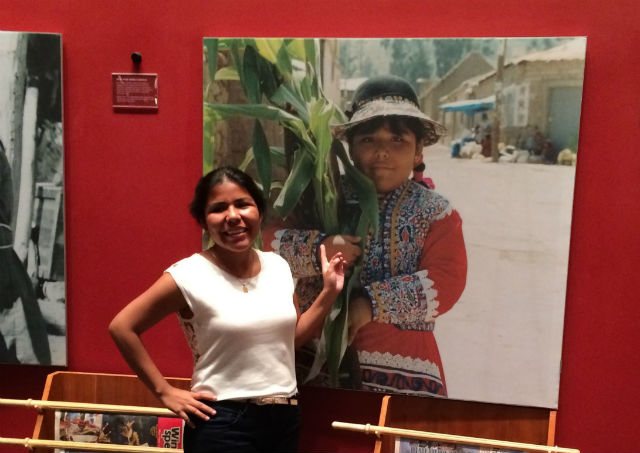 While visiting Washington, D.C., to dance at the Folklife Festival, Andrea Ochoa discovered a photo of herself as a child in the National Museum of the America Indian. Photo by Kyra Hamann, Ralph Rinzler Folklife Archives