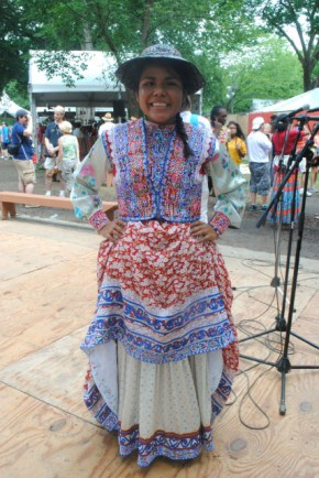 Andrea performed wititi dance during Festival Community Days, representing her hometown of Cabanaconde. Photo by Kyra Hamann, Ralph Rinzler Folklife Archives