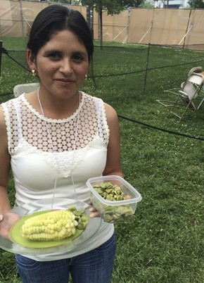 Katya Canto Lazo prepares the ingredients to make japchi de habas and choclo corn. Photo by Erin Kurvers, Ralph Rinzler Folklife Archives