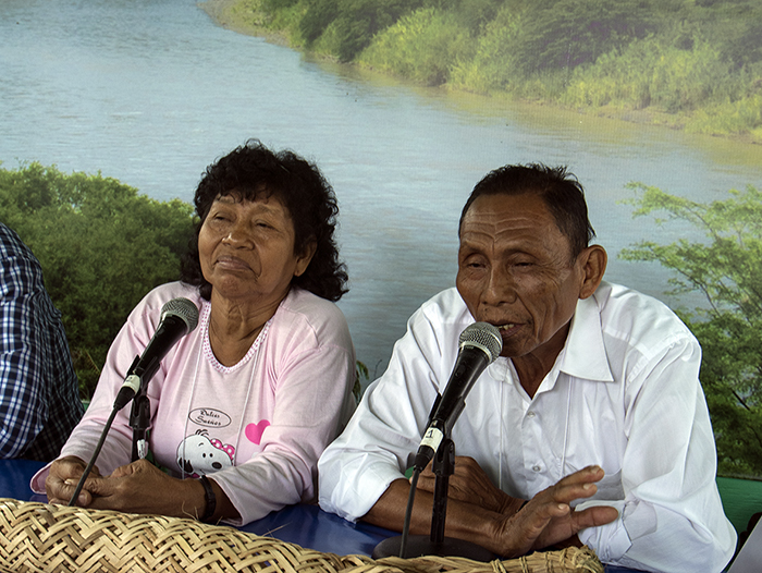 María Nashnato and Leonardo Tello from the Ikuari school share the Kukama language in the Radio Ucamara booth. Photo by Ronald Villasante, Ralph Rinzler Folklife Archives