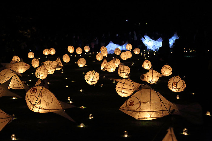 At an event in Newtown, Mid-Wales, commissioned by the Severn Rivers Trust, the community created lanterns inspired by the migration of the salmon which they paraded across the town before placing them in the River of Light. Photo courtesy of Sean Harris