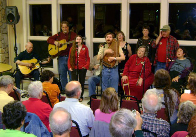 "A gathering of singers at the Folklore Society of Greater Washington's annual singers' retreat, called ""The Getaway."" Photo courtesy of Vince Wilding"