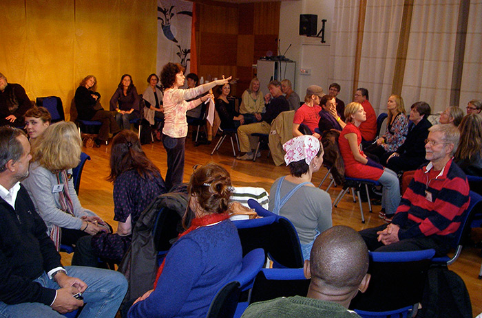 Noa Baum leads a workshop at the Fabula International Storytelling Festival in Sweden. Photo courtesy of Noa Baum