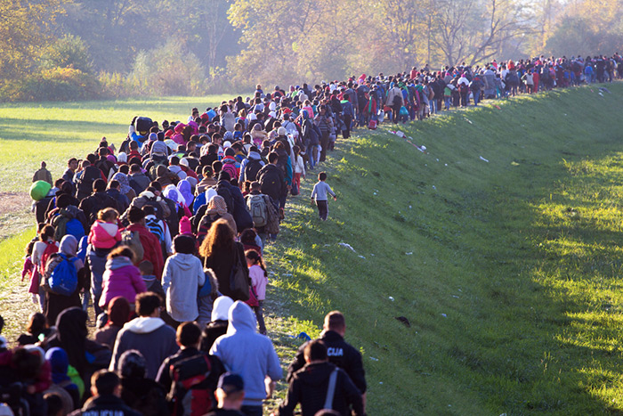 Refugees seek safety upon being denied entry from into Slovenia in October 2015. Photo by Gergely Jánossy, courtesy of American Anthropological Association