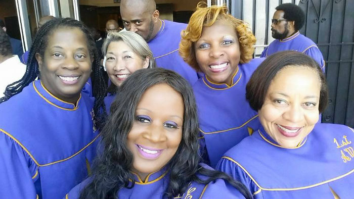 Nancy Sekizawa poses with other members of the Unity Choir of the Los Angeles AME Church. Photo courtesy of Nancy Sekizawa