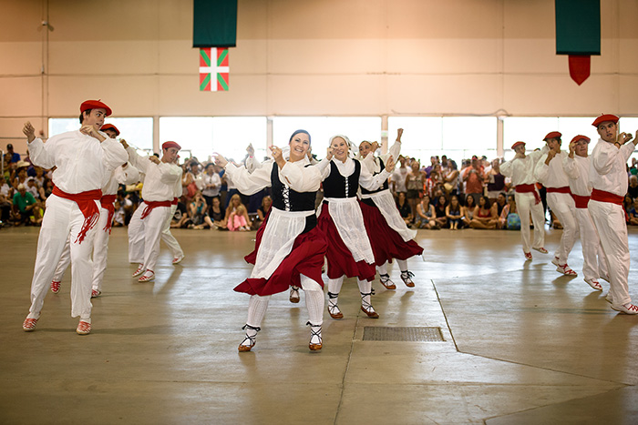 The Kern County Basque Club Dantzari Gazteak group performs at Jaialdi, a festival held in Boise, Idaho, once every five years. Photo by Linda Iriart