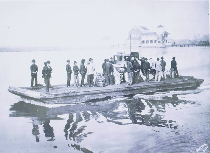 The last Chinese salmon cannery workers being shipped out on a barge to a steam ship in Humboldt Bay, California, 1906. Photo by J. A. Meiser, Peter Palmquist Collection, courtesy of Jean Pfaelzer