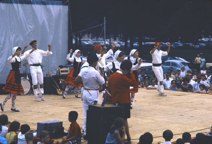 Members of the Oinkari Basque Dance troupe on a stage on the National Mall. Ralph Rinzler Folklife Archives