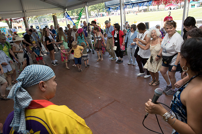 FandangObon got the audience circling around the Sounds of California Stage & Plaza with a mix of Japanese and Mexican dance traditions. Want to join in? You have no choice! Just dance! Photo by Francisco Guerra, Ralph Rinzler Folklife Archives