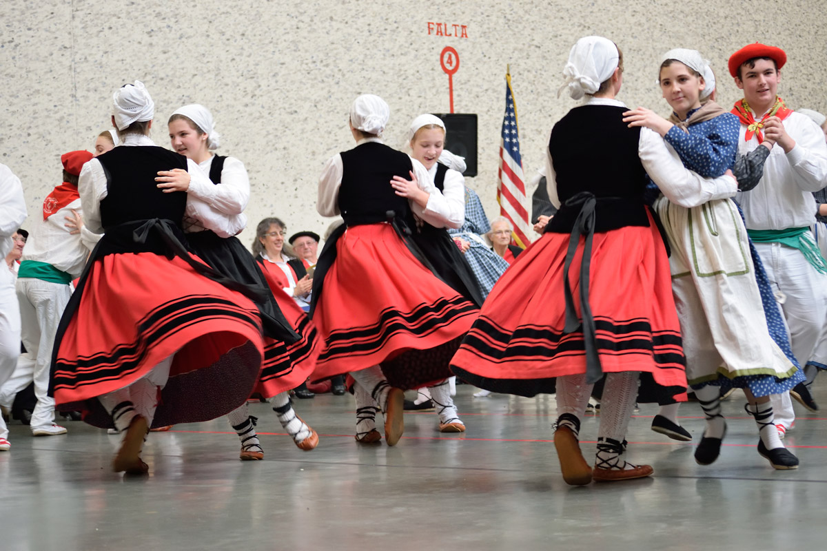 Zazpiak Bat Dancers at the San Francisco Basque Cultural Center begin learning dance at a young age. Photo by Greyson Harris, Ralph Rinzler Folklife Archives