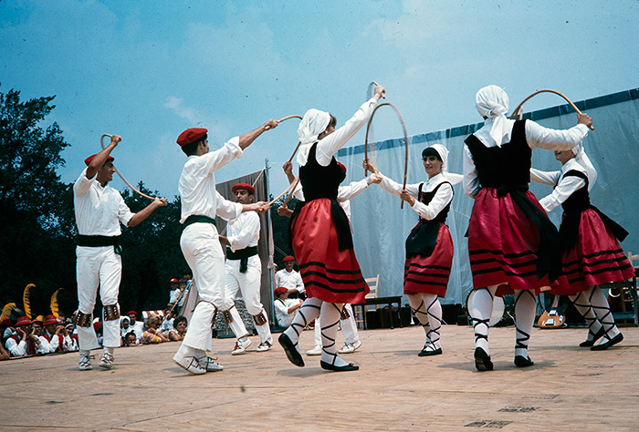 The Oinkari Basque Dancers performing at the 1968 Folklife Festival. Ralph Rinzler Folklife Archives