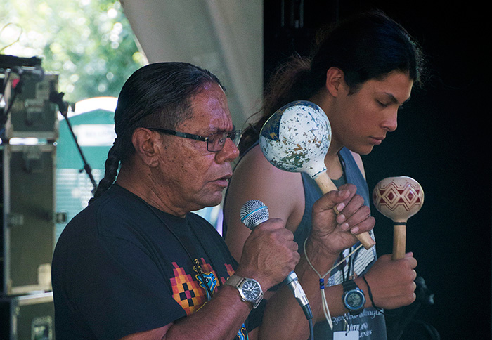 Stan Rodriguez (left) shares a song at the Sounds of California Stage & Plaza, accompanied by Raymond Martinez. Photo by Hank Douglas, Ralph Rinzler Folklife Archives