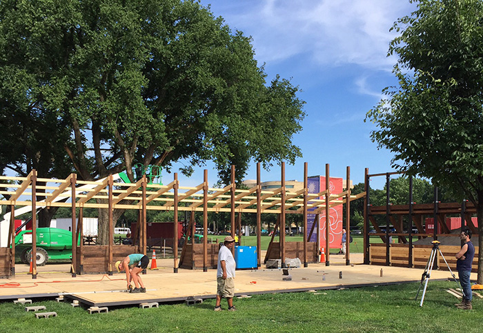 The Folklife Festival Frontoia under construction. Photo by Whitney Brown