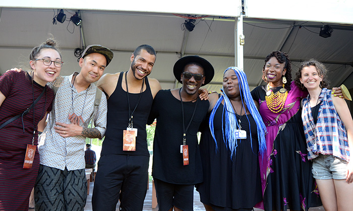 Members of Youth Speaks gather after their performance: (L-R) Isabella Borgeson, Smithsonian Asian Pacific American Center curator Adriel Luis, the gabrielanthony duo, Tassiana Willis, Antique, and Natasha Huey. Photo by Ravon Ruffin, Ralph Rinzler Folklife Archives