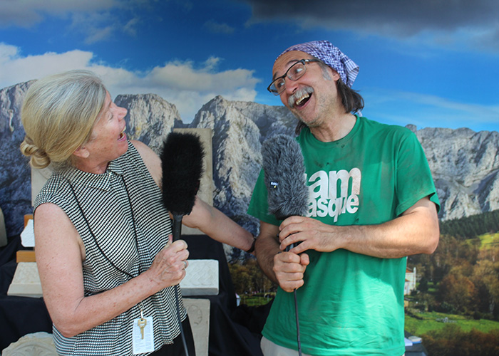 Folklife curator Majorie Hunt and Bernat Vidal having some fun after the interview. Photo by SarahVictoria Rosemann
