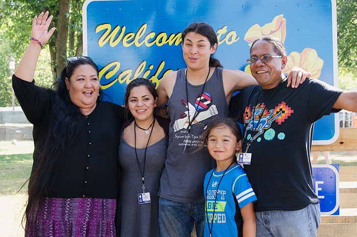 Stan's family joined him in Washington to represent the Kumeyaay: (L-R) Marta Rodriguez, Maricella Rodriguez, Raymond Martinez, and Hwaa Hawk. Photo by Josh Weilepp, Ralph Rinzler Folklife Archives