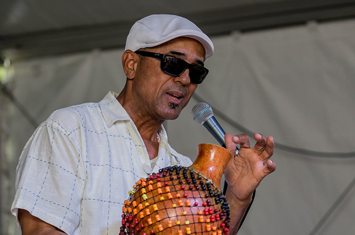 John Santos leads a demonstration of various percussion instruments. Photo by Prayoon Charoennun
