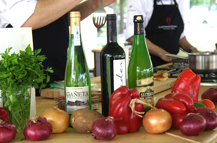 Fresh produce and Basque cider on hand in the Ostatua Kitchen. Photo by Josh Weilepp, Ralph Rinzler Folklife Archives